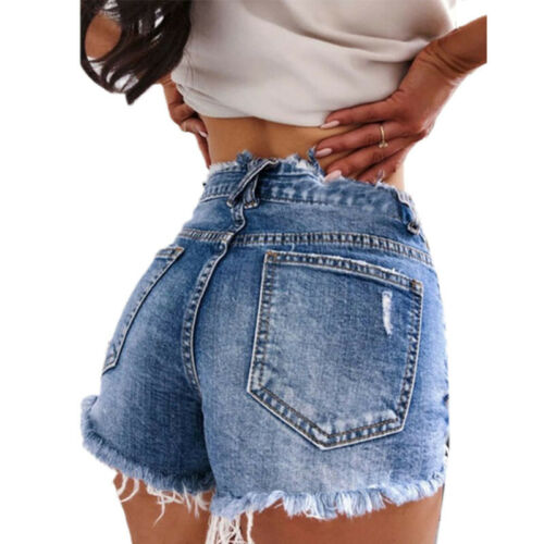 Damen Denim Shorts Destroyed Jeans Hotpants Kurzehose Sommer High Waist Bermuda