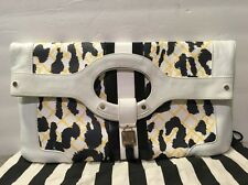 Gwen Stefani L.A.M.B Purse Clutch Rowington Leopard Leather White