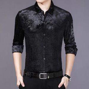 Men-Velvet-Shirt-Casual-Long-Sleeve-Pleuche-Top-Dragon-Business-Dress-Thick-Slim