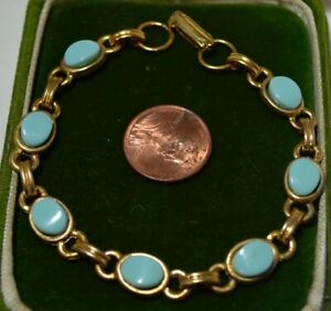 Vintage-Scarab-Style-Lune-Brillante-Turquoise-Cabochon-or-Ton-7-5-034-Bracelet-7N