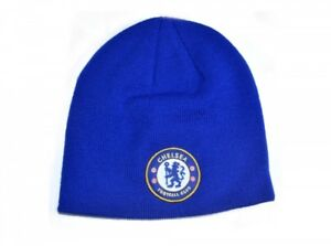f7bd58766a2 Chelsea FC Royal Blue Knitted Beanie Winter Hat Football Club Badge ...
