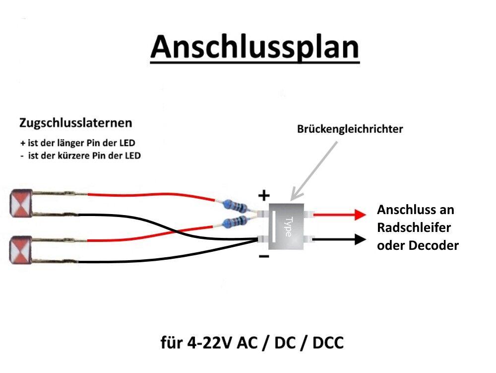 S235-h0 2 Piece zugschlußlaternen LED zugschlußbeleuchtung Carriages AC DC DCC