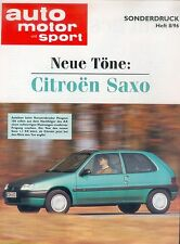 Citroen Citroën Saxo Sonderdruck ams 8/96 Auto Test 1996 PKWs Frankreich France