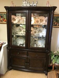 Attractive Image Is Loading Hutch China Cabinet Lighted Glass Shelves Mirrored Broyhill