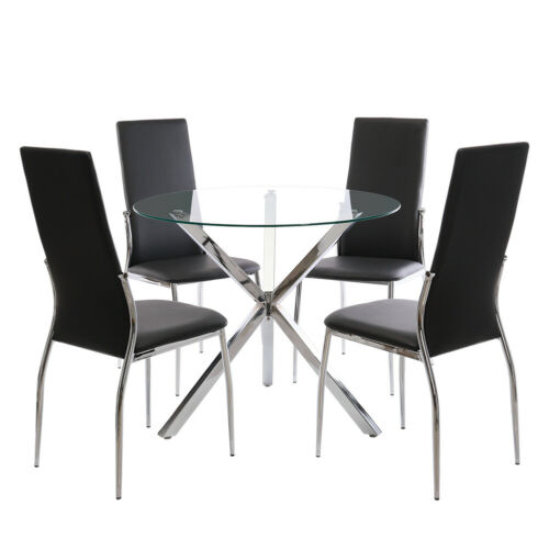 Dining Round Top Table and 2 4 PU Chairs Set Kitchen Dinning Room Black Leather