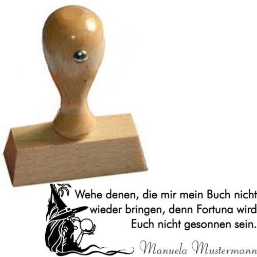 "STEMPEL Motiv /""Hexe/"" Persönlicher Ex-Libris Handstempel"
