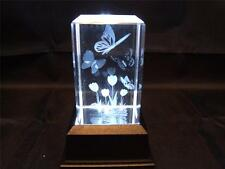 Solid Glass Crystal Laser Block and White Light Box - Tulip and Butterfly.