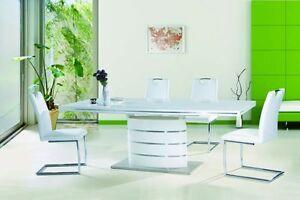 tisch esstisch esszimmertisch s ulentisch 90x220 hochglanz wei ausziehbar edel ebay. Black Bedroom Furniture Sets. Home Design Ideas