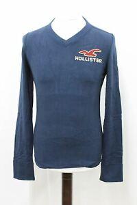 HOLLISTER-Men-039-s-Vintage-Navy-V-Neck-Long-Sleeve-Cotton-T-shirt-Size-S-NEW