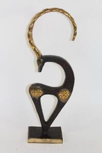 50-cm-Skulptur-Figur-Bronze-teilpoliert-Antilope-Art-Deco-Stil