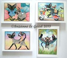 Devon Rex art greetings cards 8 mixed from original painting by Suzanne LeGood