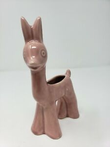 Vintage-Shawnee-Glazed-Ceramic-Pottery-Deer-Planter-Dusty-Rose-Pink
