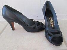 Tweedies Alluring Footwear VTG 1950s Peep Toe Pumps Navy Blue 6.5 A Charleroi PA