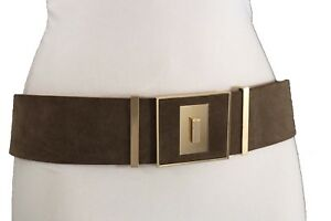 Women Fashion Elastic Dark Brown Faux Suede Leather Belt Square Buckle Size S M