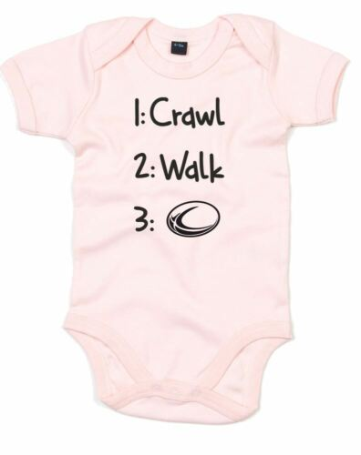 Ramper Walk Rugby Imprimé Baby Grow Top Design NOUVEAU à manches courtes Dormir Costume Ange