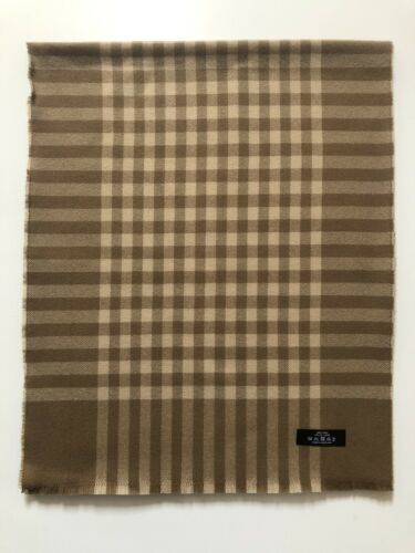 100% Pure Lambswool Long Extra Wide Woven Camel Natural Brown Check Scarf