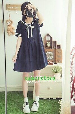 Harajuku Amo Lovely Sailor Seaman Neck  Dress 2 Colors Bowknot Sweet Student New