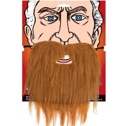 Mens Fancy Dress Beard Brown with elastic strap Bierd New w