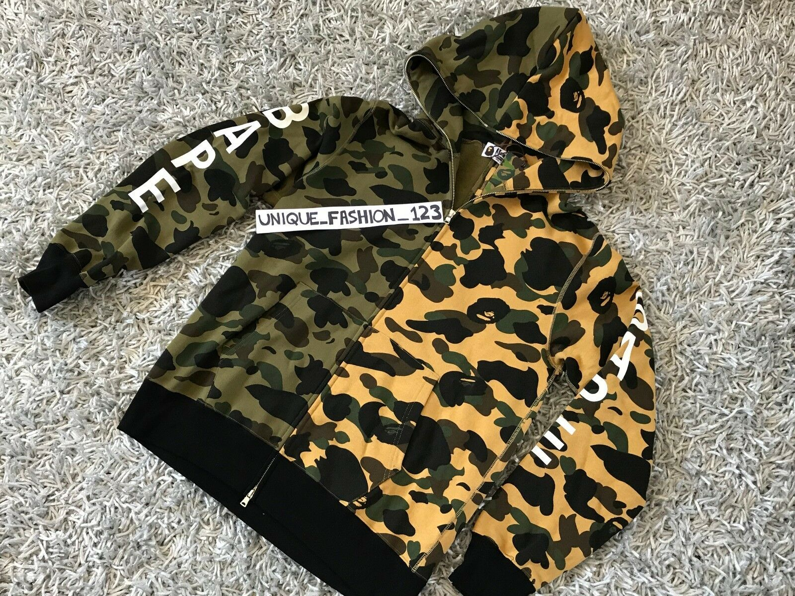 A BATHING APE 1ST CAMO HALF SPLIT HOODIE XL Grün Gelb FULL ZIP X-LARGE BAPE