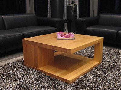 Details zu Wohnzimmertisch Lounge Tisch ERLE Massivholz nach Maß Echtholz Design MT02 Couch