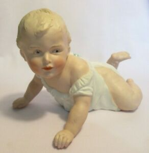 Antique-Vtg-Gebruder-Heubach-Bisque-Porcelain-Piano-Baby-Crawling-8-034-Germany