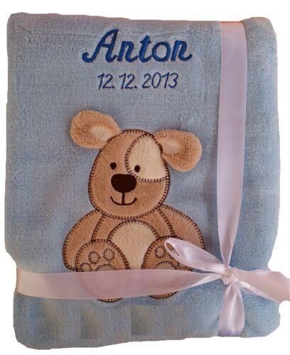 Babydecke bleu clair chien avec nom brodé bébé couverture Baptême Naissance Cadeau Nom