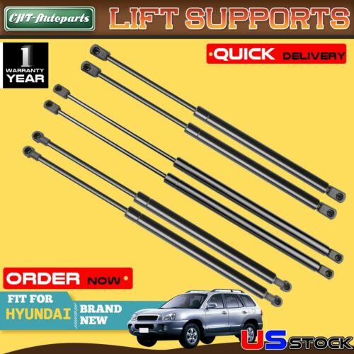 6x Hood+Tailgate+Rear Window Lift Supports Shock for Hyundai Santa Fe 2001-2006