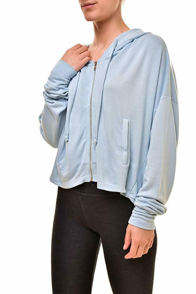 NWT  Wildfox Couture ORB Hoodie Essentials Cropped Zip Up bluee Skies XS