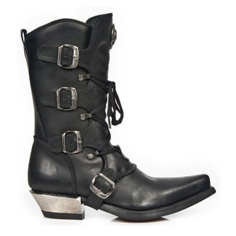 Newrock New New New Rock 7993-c2 señoras de cuero Negro Hebilla Goth Encaje Alta cremallera botas  precios mas bajos