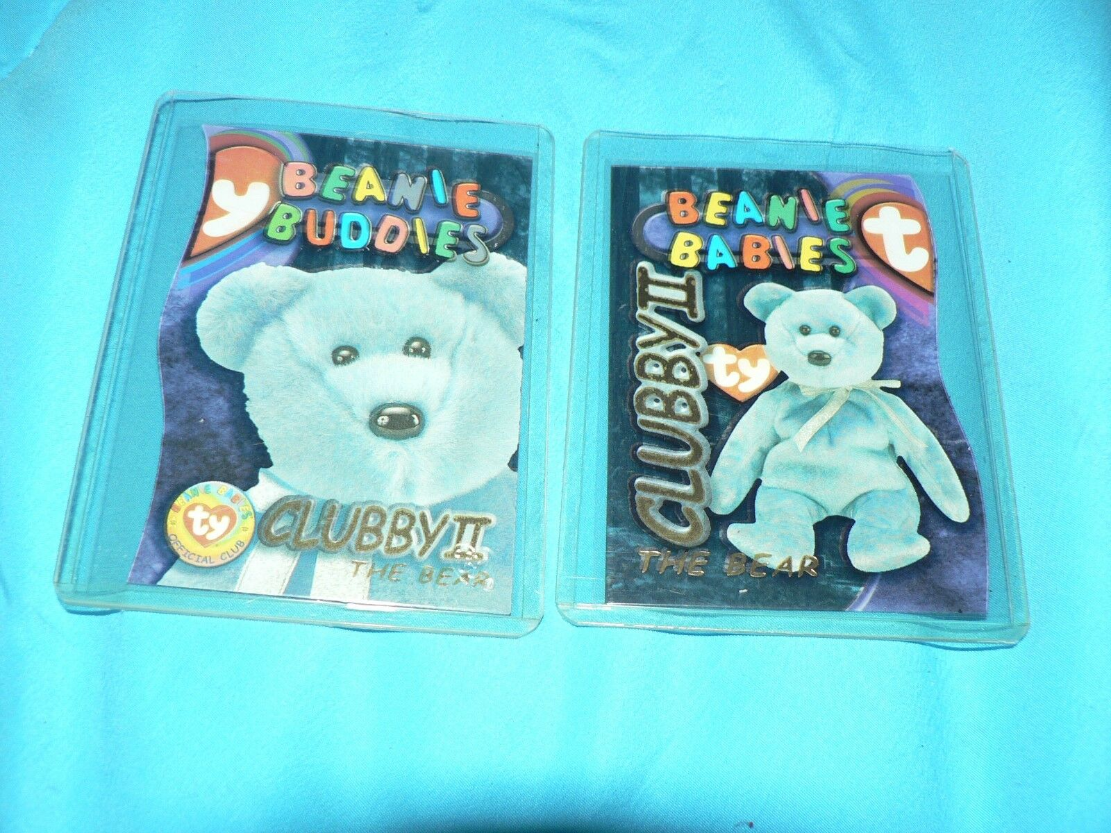 Ty Beanie Babie Babie Babie Buddies 2 Clubby 2 II Cards gold 9991 Limited Edition 2 card Lot d50845