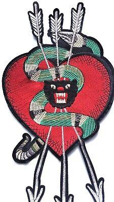 XL serpiente corazón l/'aveugle par amour Parche Bordado Panther flechas Apliques