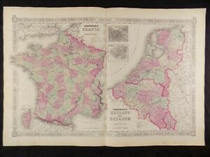 Map Of France And Holland Belgium.1863 Map Of France Holland Belgium Johnson S Atlas W C O A Orig