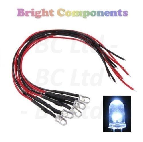 Lampeggiante Pre-Cablato Bianco LED 5mm ultra luminosa 1st Class Post 9V ~ 12V