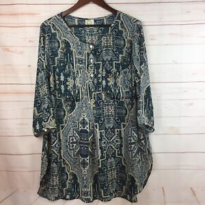Fig-and-Flower-Womens-2X-3-4-Sleeve-Green-Cream-Semi-Sheer-Tunic-Blouse-NEW