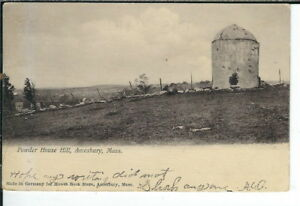 CG-184-MA-Amesbury-Powder-House-Hill-Undivided-Back-Postcard-Howes-Book-Store