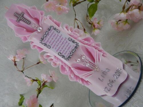 Taufkerze Kommunionkerze geschnitzt zartrosa mit Spruch für Mädchen