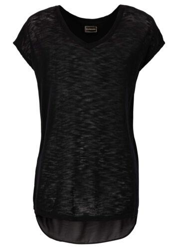 32//34 970205 Rainbow Damen Shirt Chiffon Kurzarm Top T-Shirt Tunika schwarz Gr