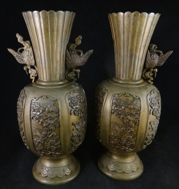Pair Of Japanese Bronze Vases With Crane Handles 1 Meiji Period