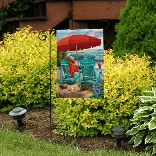 "Beach Life Summer Garden Flag Nautical Adirondack Chairs 12.5/"" x 18/"""