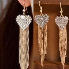 Love Heart Party Long Tassels Rhinestone Hook Ear Linear Drop Dangle Earrings