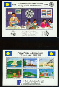 Palau-2-1988-Souvenir-Sheets-Postal-Independence-and-Philatelic-Scott-196-197