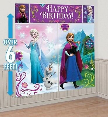 Frozen Hanging Scene Setter Girls Kids Birthday Party Wall Decorating New