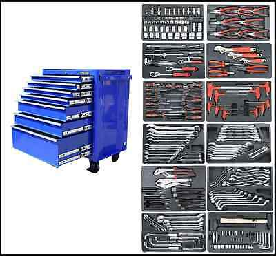 10 US PRO BLUE STEEL HEAVY DUTY TOOL BOX CHEST WITH TOOLS CABINET FINANCE OPTION