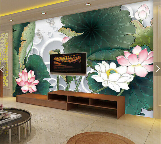 3D Lotus Flowers 78 Wall Paper Murals Wall Print Wall Wallpaper Mural AU Lemon