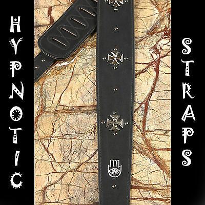 HYPNOTIC STRAPS MALTESE CROSS LEATHER SUEDE STUDED GUITAR,BASS,ACOUSTIC STRAP