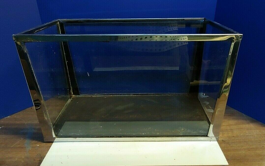 Vintage Stainless Steel Frame 10 Gallon Fish Tank 20x10x12