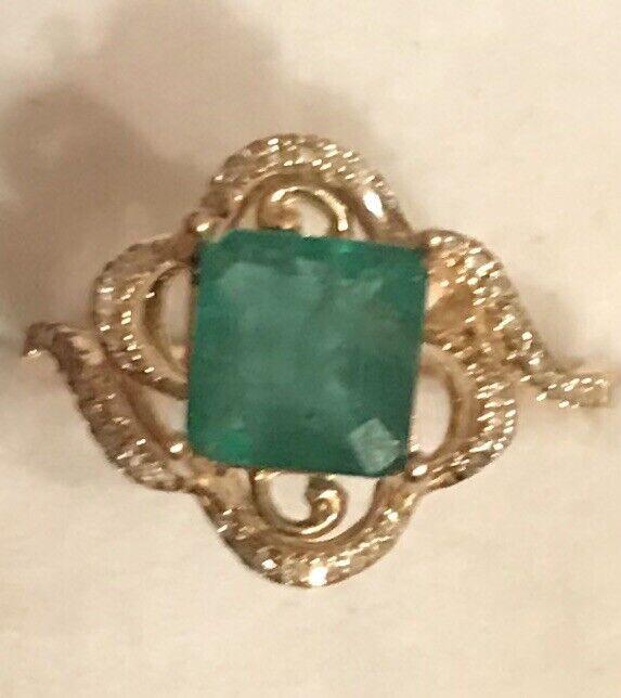 14k Yellow gold Natural Diamond Emerald  Engagement Ring Princess Cut 2.09Ct