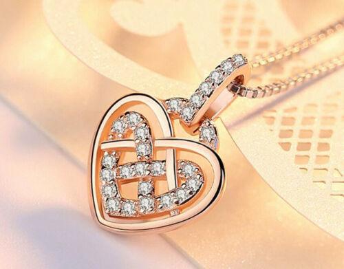 Remolino de Cristal Corazón Colgante Collar de plata esterlina 925 Cadena Joyería para Mujer
