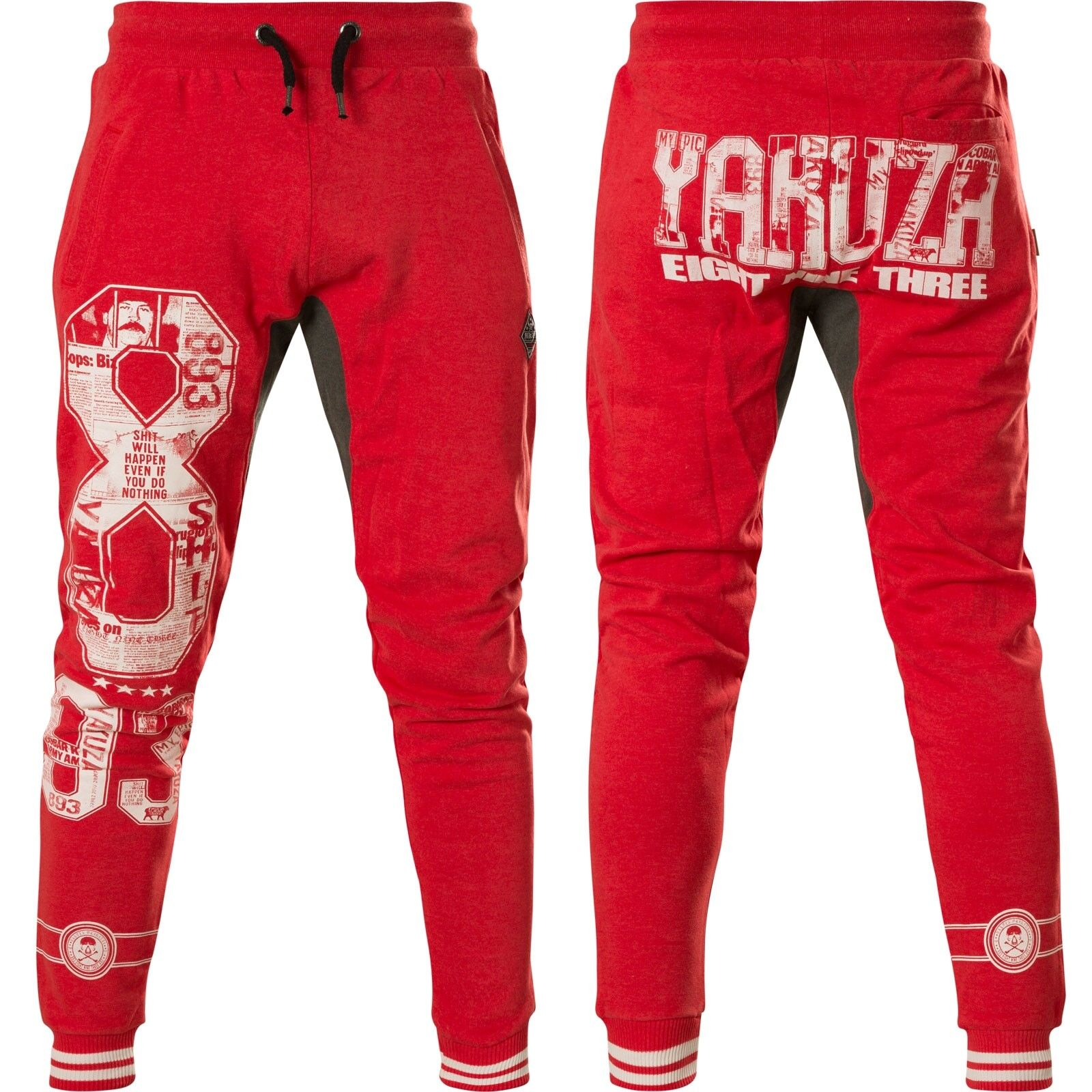YAKUZA Jogginghose Badge Jogger JOB-13047 Ribbon rot Rot Sweatpants Herren    | Quality First