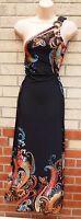 ANGELA MULTI COLOR BLACK LYCRA ONE SHOULDER PAISLEY FLORAL LONG MAXI DRESS M